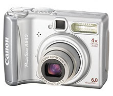 Reviews Canon Powershot A540-Front