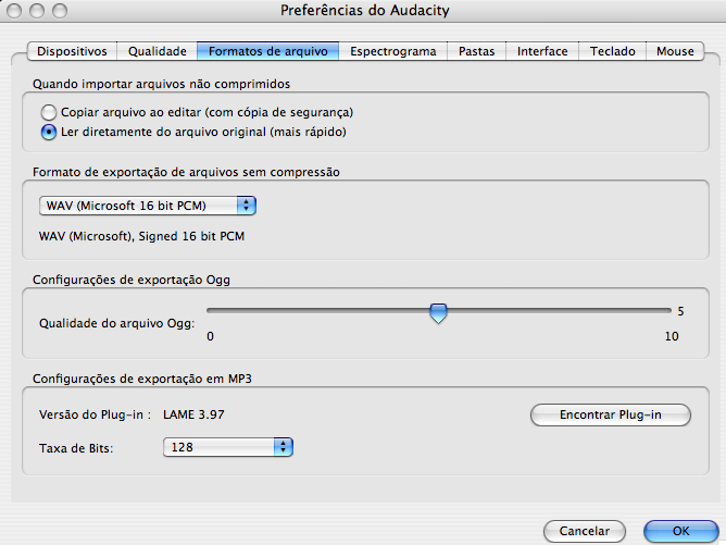 Audacity preferences encoder