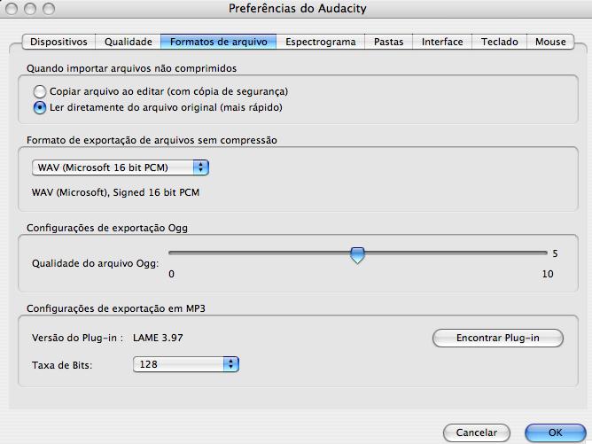 Audacity preferences encoder
