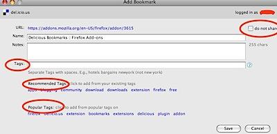 delicious add bookmark window