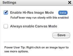 fotoflexer hi-res image mode