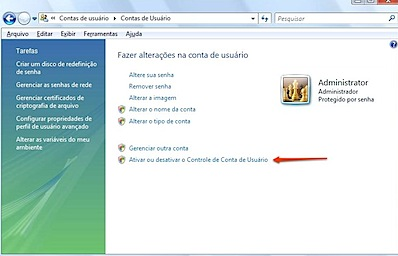 desativar controle de conta de usuario windows vista