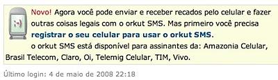 orkut sms celular mensagem
