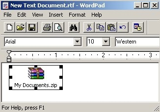 wordpad contendo pacote