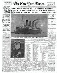new york times titanic sinks
