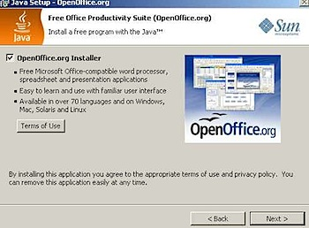 java update openoffice installer