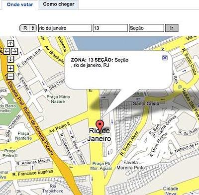 Google – Eleições 2008 - como chegar na sua zona google maps