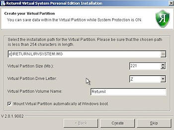 returnil virtual system partition