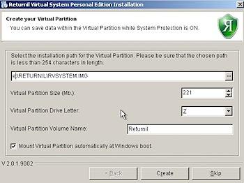 returnil virtual system partition