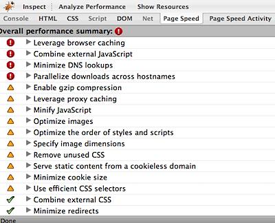 google page speed firebug overall performance