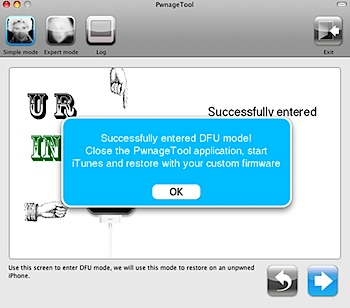 iphone pwnage tool successfully dfu
