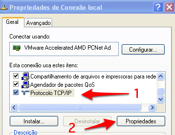 propriedades de conexao local Windows XP Pro