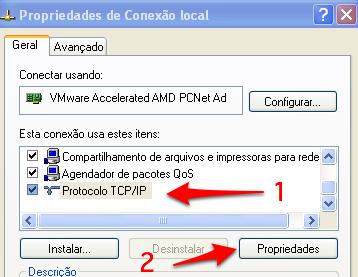 propriedades de conexao local Windows XP Pro