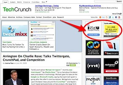 TechCrunch sidebar ads