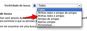 facebook search visibility portuguese