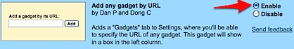 gmail add any gadget by url  enable