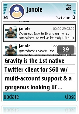 gravity twitter s60 client