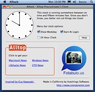 alltop procrastinator clock mac