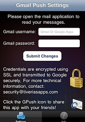 gpush gmail push settings