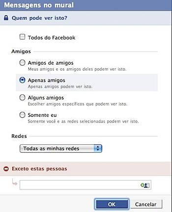 facebook mensagens mural privacy