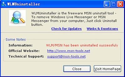 wlmuninstaller free msn remover