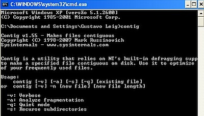 contig Windows XP dos command