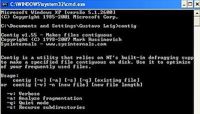 contig Windows XP dos command