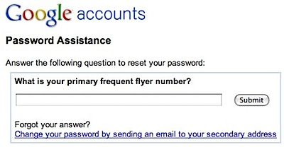 Google Accounts forgot answer