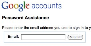 Google Accounts password assistance