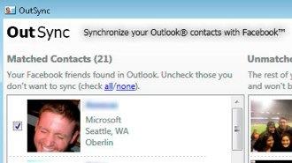 OutSync outlook facebook sync