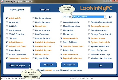 FREE PC Profile, Audit, and Diagnostic Report Utility