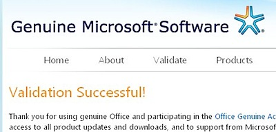 genuine microsoft software validation successful
