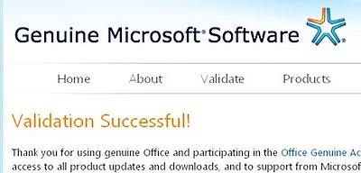 genuine microsoft software validation successful
