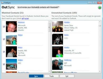 OutSync facebook outlook pictures
