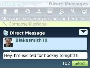 BlackBerry - Twitter App direct message