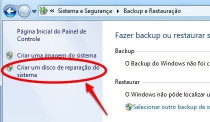 Windows 7 disco de reparacao do sistema