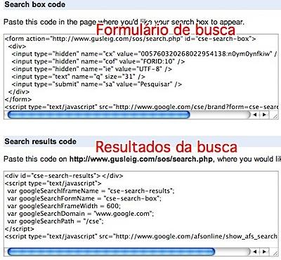 Google Custom Search codes