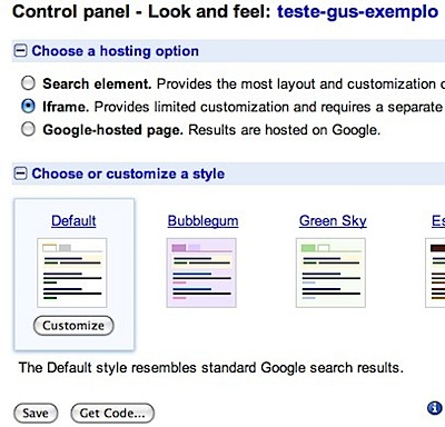Google Custom Search look feel