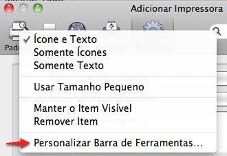 mac os x personalizar barra ferramentas