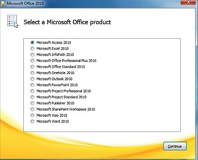 office 2010 install options