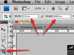 Photoshop crop tool 320 480