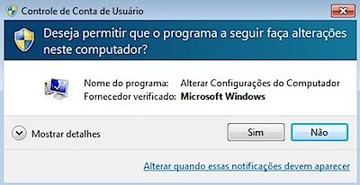 Windows 7 controle conta usuario uac