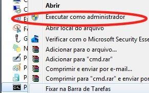 Windows 7 linha de comando administrador