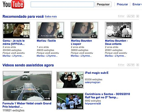 YouTube main page