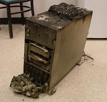 burned computer
