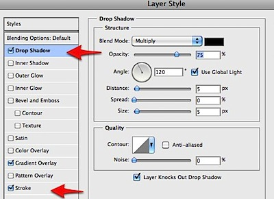 Layer Style drop shadow stroke