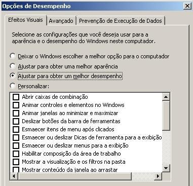windows performance settings