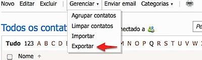 Contatos - Windows Live exportar hotmail