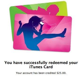 iTunes 25 card redeemed