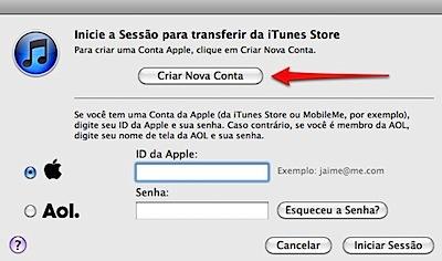 iTunes criar nova conta create account